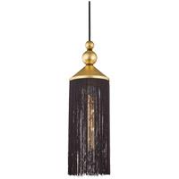 Mitzi H300701-GL/BK Scarlett 1 Light 5 inch Gold Leaf Pendant Ceiling Light in Black Silk Tassels