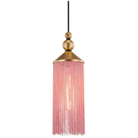 Mitzi H300701-GL/PK Scarlett 1 Light 5 inch Gold Leaf Pendant Ceiling Light in Pink Silk Tassels