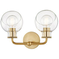 Mitzi H311302-AGB Noelle 2 Light 15 inch Aged Brass Bath Bracket Wall Light