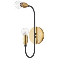 Mitzi H320102-AGB/BK Dakota 2 Light 5 inch Aged Brass / Black Wall Sconce Wall Light
