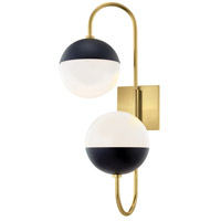 Mitzi H344102B-AGB/BK Renee 2 Light Aged Brass / Black Wall Sconce Wall Light