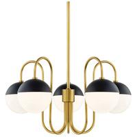 Mitzi H344805-AGB/BK Renee 5 Light 28 inch Aged Brass / Black Chandelier Ceiling Light