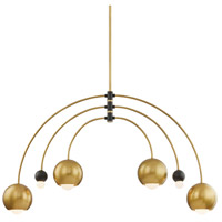 Mitzi H348806-AGB/BK Willow 2 Light 49 inch Aged Brass / Black Chandelier Ceiling Light