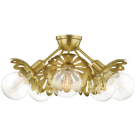 Mitzi H353605-AGB Alyssa 5 Light 24 inch Aged Brass Semi Flush Ceiling Light
