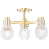 Mitzi H417603-AGB Jenna 3 Light 16 inch Aged Brass Semi Flush Ceiling Light