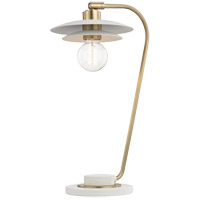 Mitzi HL175201-AGB/WH Milla 20 inch 60 watt Aged Brass Table Lamp Portable Light