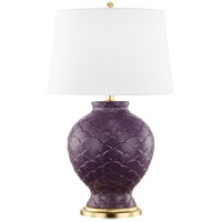 Mitzi HL269201-PL Demi 25 inch 100 watt Plum and Gold Leaf Table Lamp Portable Light