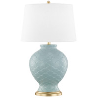 Mitzi HL269201-SU Demi 25 inch 100 watt Surf and Gold Leaf Table Lamp Portable Light