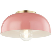 Avery 1 Light 11 inch Aged Brass Semi Flush Ceiling Light in Pink Metal