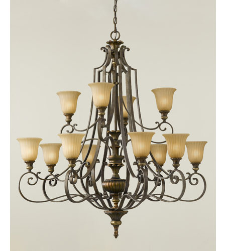 Feiss Kelham Hall 12 Light Chandelier In Firenze Gold And