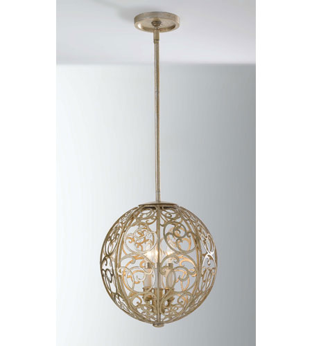 Feiss Arabesque 3 Light Hall Chandelier in Silver Leaf Patina F2538/3SLP photo