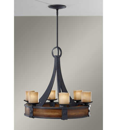 Feiss F2591/6AF/AGW Madera 6 Light 28 inch Antique Forged Iron and Aged Walnut Chandelier Ceiling Light photo