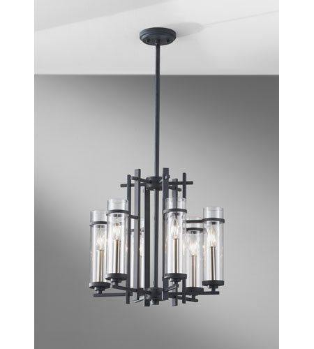 Feiss Ethan 6 Light Chandelier in Antique Forged Iron and Brushed Steel F2631/6AF/BS photo