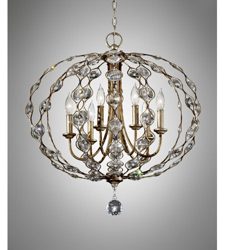 Feiss Leila 6 Light Chandelier in Burnished Silver F2740/6BUS