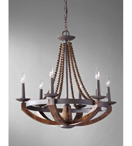 Feiss F2749/6RI/BWD Adan 6 Light 26 inch Rustic Iron and Burnished Wood Chandelier Ceiling Light photo