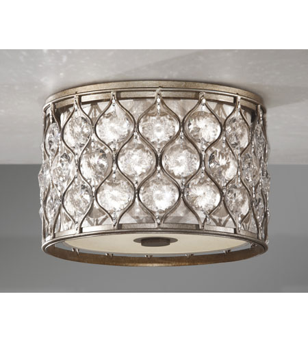 Feiss Lucia 2 Light Flush Mount in Burnished Silver FM355BUS