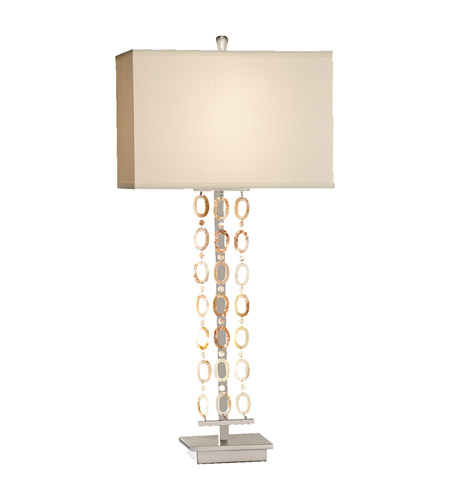 Feiss Independents 1 Light Table Lamp in Brushed Nickel and Natural Shell Strands 10089BN/NS photo