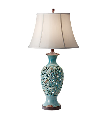 Feiss Antica Ceramica 1 Light Table Lamp in Persian Turquoise 10156PER photo