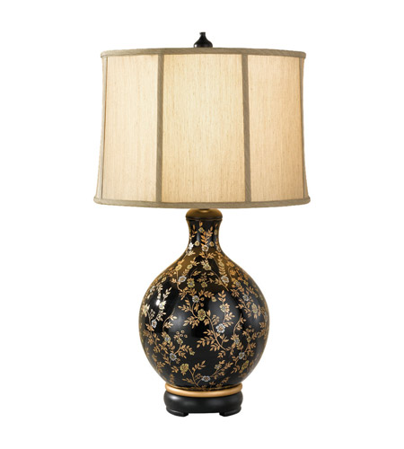 Feiss Hand Painted Porcelain 1 Light Table Lamp in Glossy Black and Golden Floral Pattern 9915GB/GFP photo