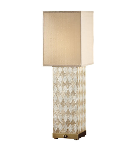 Feiss Nevena 2 Light Table Lamp in Harlequin Pattern Natural Shell and Dark Coffee Bronze 9971HNS/DCB photo
