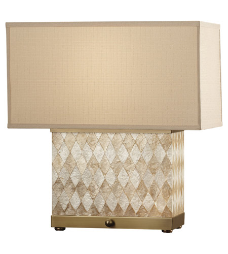 Feiss Nevena 2 Light Table Lamp in Harlequin Pattern Natural Shell and Dark Coffee Bronze 9972HNS/DCB photo
