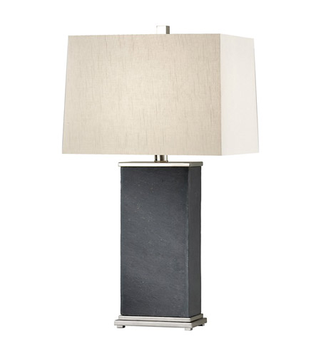 Feiss Phillipe 1 Light Table Lamp in Polished Nickel and Black Slate 9986PN/BKS photo