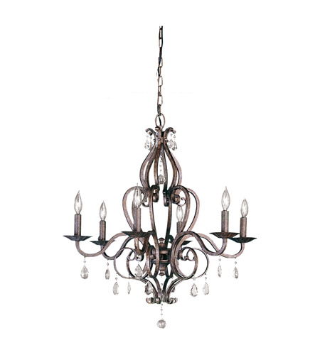 Feiss F1798/6PBR Mademoiselle 6 Light 28 inch Peruvian Bronze Chandelier Ceiling Light photo