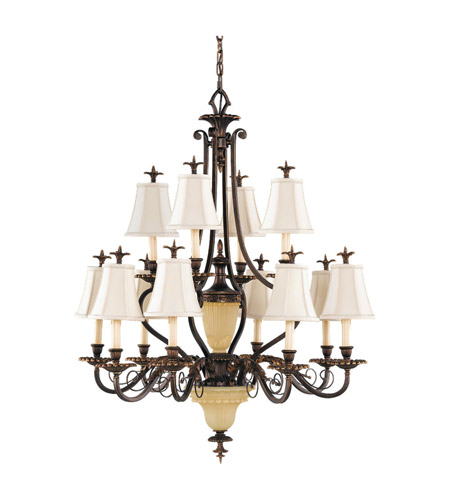 Feiss Tres Chic Belle Fleur 14 Light Chandelier in Firenze Gold F2209/8+4FG photo