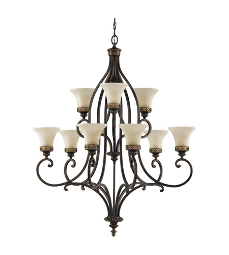 Feiss Drawing Room 9 Light Chandelier in Walnut F2225/6+3WAL photo