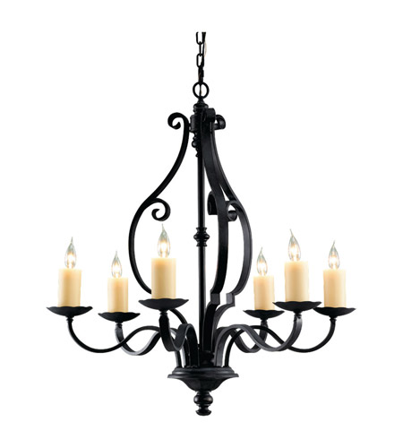 Feiss Kings Table 6 Light Chandelier in Antique Forged Iron F2275/6AF photo