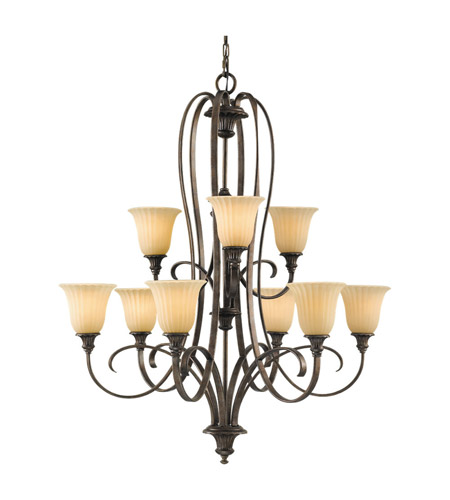 Feiss Somerset 9 Light Chandelier in British Bronze F2281/6+3BRB photo