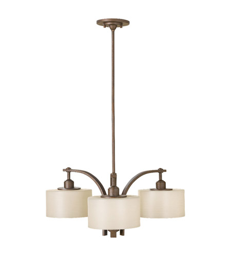 Feiss F2403/3CB Sunset Drive 3 Light 27 inch Corinthian Bronze Chandelier Ceiling Light in Striated Pearl Glass photo