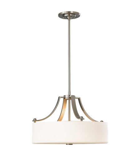 Feiss F2404/3BS Sunset Drive 3 Light 19 inch Brushed Steel Chandelier Ceiling Light in Standard, Opal Etched Glass photo