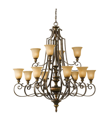Feiss Kelham Hall 12 Light Chandelier in Firenze Gold and British Bronze F2418/8+4FG/BRB photo