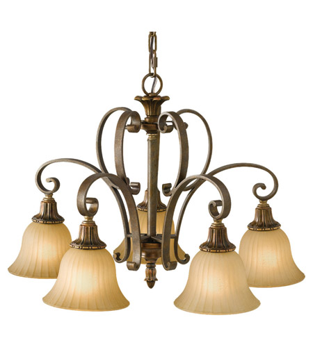 Feiss Kelham Hall 5 Light Chandelier in Firenze Gold and British Bronze F2421/5FG/BRB photo