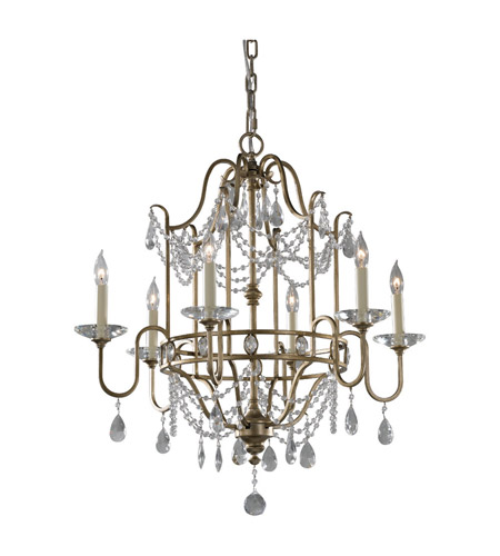 Feiss F2475/6GS Gianna 6 Light 26 inch Gilded Silver Chandelier Ceiling Light photo