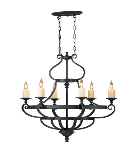 Feiss Kings Table 6 Light Chandelier in Antique Forged Iron F2517/6AF photo