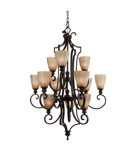 Feiss Russell 12 Light Chandelier in Pecan F2551/12PCN photo