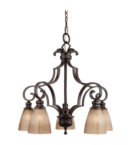 Feiss Russell 5 Light Chandelier in Pecan F2553/5PCN photo