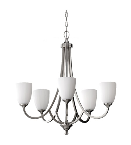 Feiss Perry 5 Light Chandelier in Brushed Steel F2584/5BS photo