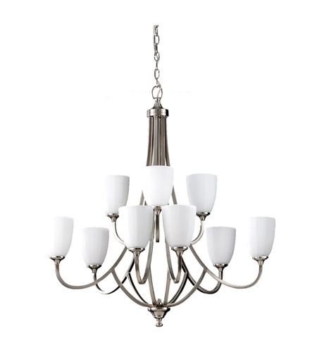 Feiss F2585/6+3BS Perry 9 Light 32 inch Brushed Steel Chandelier Ceiling Light photo