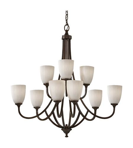 Feiss F2585/6+3HTBZ Perry 9 Light 33 inch Heritage Bronze Chandelier Ceiling Light photo