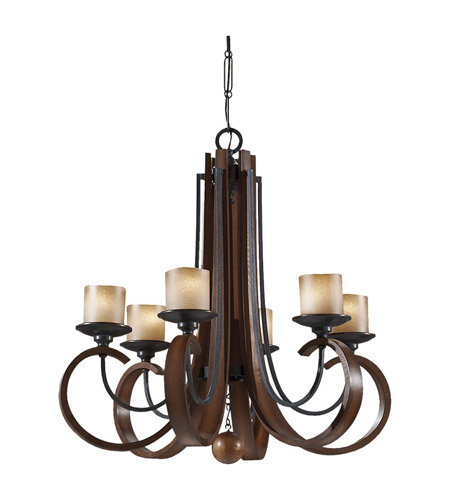Feiss Madera 6 Light Chandelier in Antique Forged Iron and Aged Walnut F2590/6AF/AGW photo