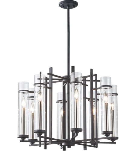 Feiss F2628/8AF/BS Ethan 8 Light 26 inch Antique Forged Iron and Brushed Steel Chandelier Ceiling Light photo