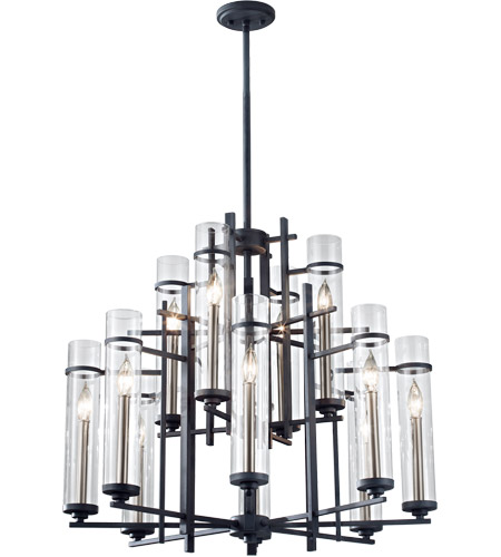 Feiss Ethan 12 Light Chandelier in Antique Forged Iron and Aged Walnut F2629/8+4AF/BS photo