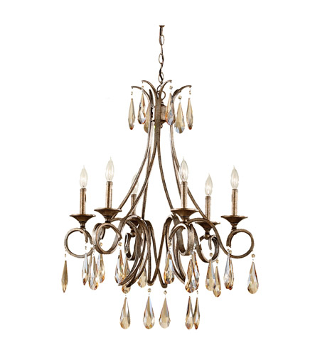 Feiss F2636/6GIS Reina 6 Light 26 inch Gilded Imperial Silver Chandelier Ceiling Light photo