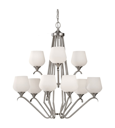 Feiss Merritt 9 Light Chandelier in Brushed Steel F2656/6+3BS photo