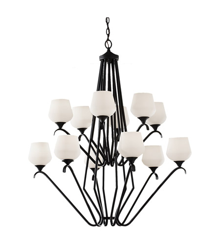 Feiss Merritt 12 Light Chandelier in Black F2657/6+6BK photo