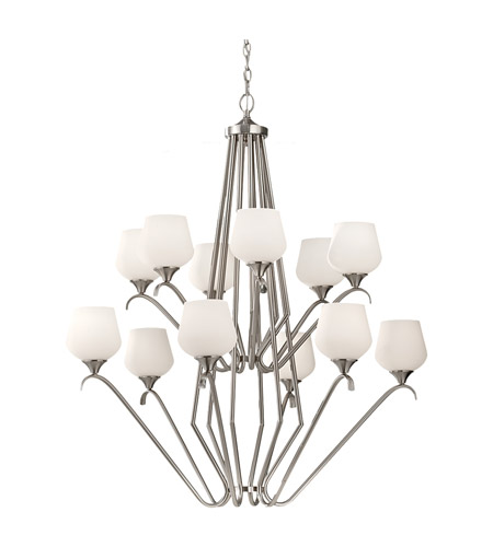 Feiss Merritt 12 Light Chandelier in Brushed Steel F2657/6+6BS photo