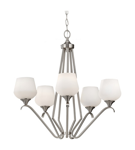 Feiss Merritt 5 Light Chandelier in Brushed Steel F2659/5BS photo